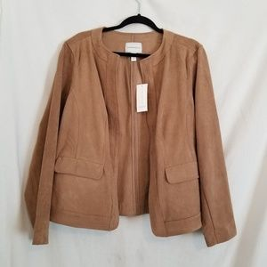 Charter Club Faux Suede Open Front Jacket sz1x NWT